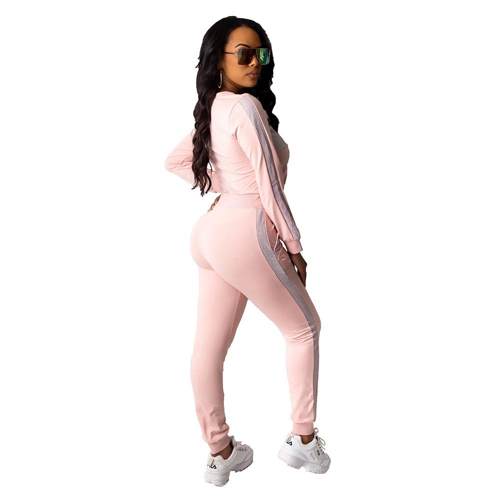 Echoine Striped Patchwork Pink two piece set tracksuit women Autumn Long Sleeve jogging femme Sportwear outfits matching sets