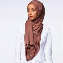 muslim women stretchy jersey scarf hijab soild cotton islamic headscarf foulard femme musulman arab wrap head scarf hoofddoek