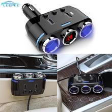 12V 24V Car Cigarette Lighter Socket Splitter Plug LED USB Charger Adapter For Mobile Phone DVR USB Car Charger Auto Accessories