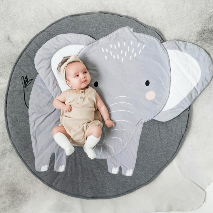 90CM Creative Elephant Design Baby Play Mat  Round Carpet Cotton Animal Playmat Newborn Infant Crawling Blanket Kids Room Decor