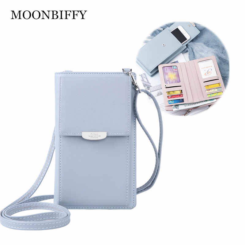 Leather Multifunction Crossbody Phone Shoulder Bag  Mini Women Wallet Messenger Female Clutch 2-in-1 Card Holder  Candy Color