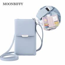 Leather Multifunction Crossbody Phone Shoulder Bag Mini Women Wallet Messenger Female Clutch 2-in-1 Card Holder Candy Color