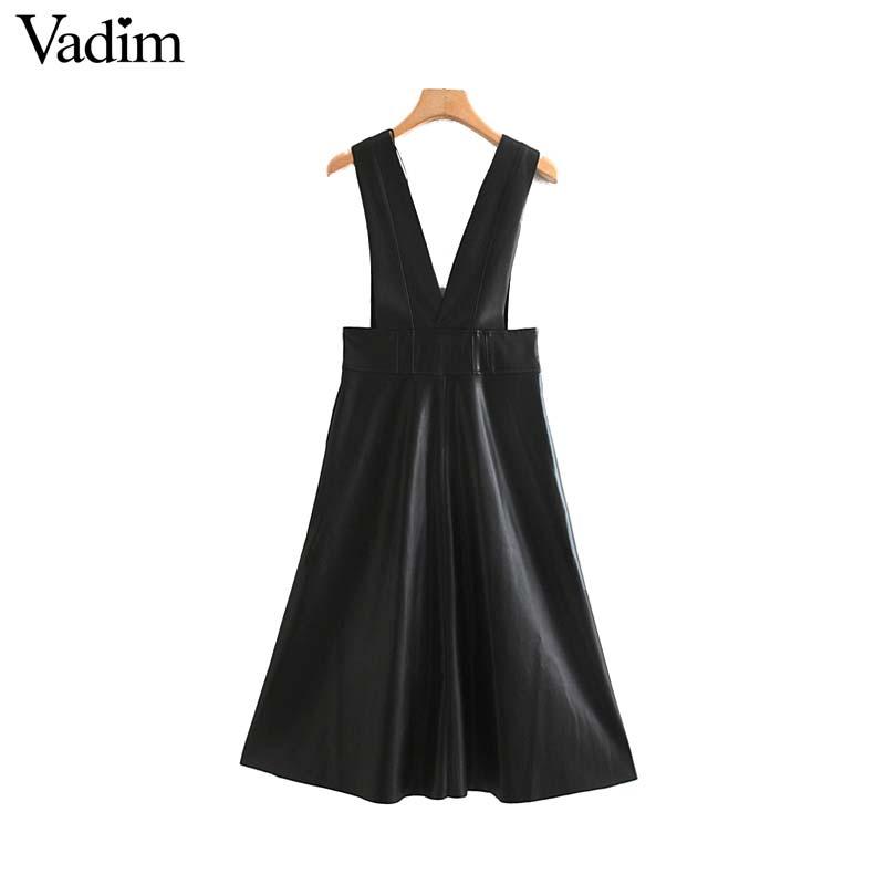 Image 2 - Vadim women chic PU leather midi skirt buttons decorate female basic stylish black A line mid calf skirts mujer BA804Skirts   -