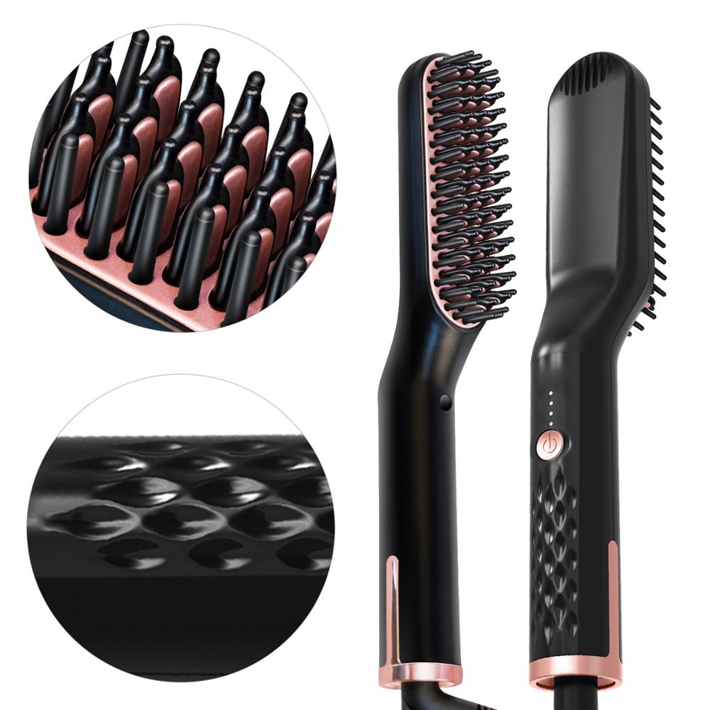 Woman Electric Hair Comb Straightening Irons Men Beard Growth Brush Grooming Kit Boy Multifunctional Beard Straightener Brushes