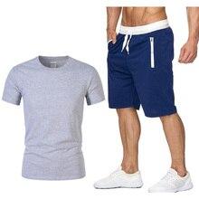 Устанавливает новые мужские футболки футболки+шорты Марка мужчины из двух частей спортивный костюм мужчины 2019 мужской случайные футболки тренировки сталкивателем костюмы для мужчин