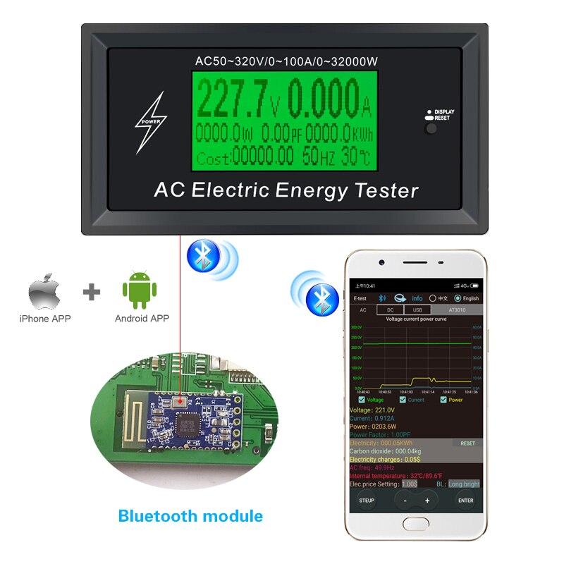 3kkw digital tensão telefone app ac medidores indicador de energia voltímetro amperímetro atual ampères volt wattmeter tester detector
