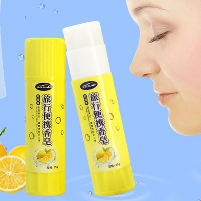 Portable Soap Hand Washing Body Care Antibacterial Lemon Aroma Creative Glue Stick Shaped Outdoor Travel Camping