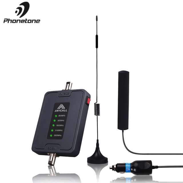 Car Use Mobile Cell Phone Signal Booster 800/900/1800/2100/2600MHz 2G 3G 4G LTE Amplifier Five Band 45dB Gain Cellular Repeater