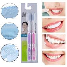 2pcs רך סיליקון מברשת שיניים למבוגרים אוראלי טיפול מברשת אנטיבקטריאלי מברשת שיניים צבע אקראי פרו שיניים נקי