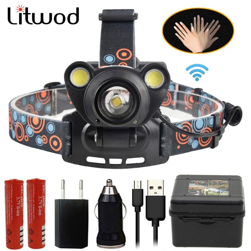 Litwod Z20 IR LED Sensor Headlamp 8000LM XM-L2 U3 Intelligent Induction Strong Head Flashlight Torch Lamp Light Fishing Lights