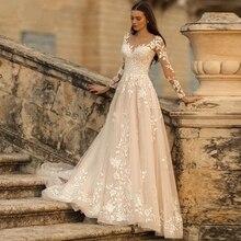 Laço applique glitter tule vestido de casamento longo mangas compridas colher pescoço vintage a linha vestido de noiva renda-up aberto volta marfim elegante