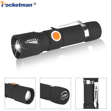 USB Rechargeable Flashlight Tail USB LED Torch Zoomable 3 Modes Flashlight Waterproof LED Flashlight with Built-in Battery Power(China)