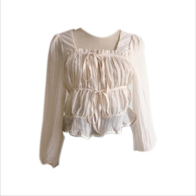 2021 spring and autumn good quality French square collar folds ruffled thin long-sleeved chiffon shirt blouse women рубашка топ 6
