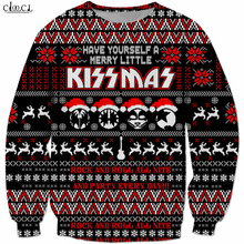 크리스마스 의상 중금속 락 키스 밴드 운동복 남자 여자 3D 인쇄 힙합 Tracksuit 탑스 Streetwear Pullovers B294