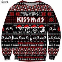Costumes de noël en métal lourd Rock KISS Band sweat shirt hommes femmes impression 3D Hip Hop survêtement hauts pulls Streetwear B294