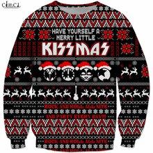 Trajes de natal heavy metal rock kiss band moletom masculino feminino 3d impressão hip hop treino topos streetwear pullovers b294