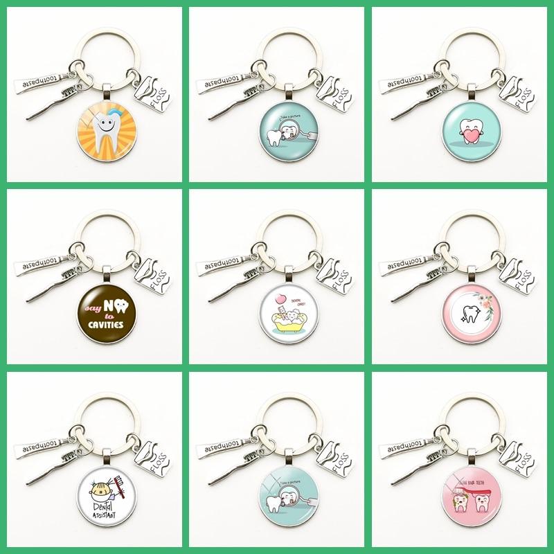 2020 New Cute Dental Floss Box Pendant Keychain Clean Teeth Pattern Key Ring Charm Bag Male Gift Hand Made Key Chains Jewelry(China)