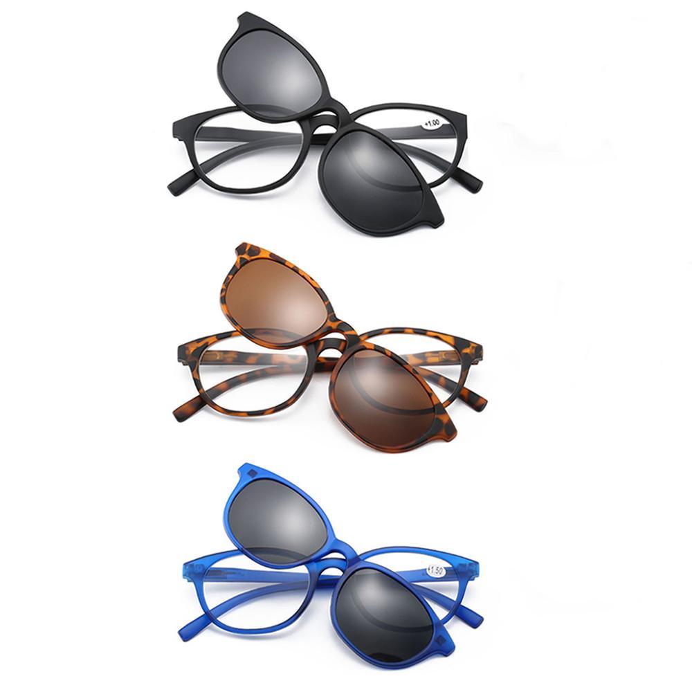 Unisex Reading Glasses Presbyopia Polarized Magnetic Clip On Sunglasses Readers Strength +1/+1.5/+2/+2.5/+3/+3.5