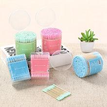 200pcs/lot portable candy color soft thread dual head cotton