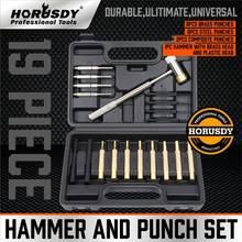 2021-horusdy novo 19pc martelo & perfurador conjunto de bronze aço plástico socos gunsmithing manutenção caso