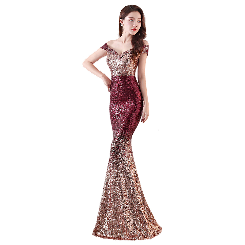 Evening Dress Long Mermaid Sequined Party Gown Elegant V-Neck Off The Shoulder Sleeveless Robe De Soiree Formal Evening Dresses