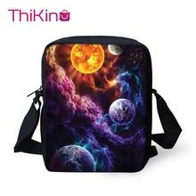 Thikin Galaxy Pattern Planet Shoulder Messenger Bag Crossbody Phone Bag for Boys Phone Bag Shopping Bags Mochila Infantil