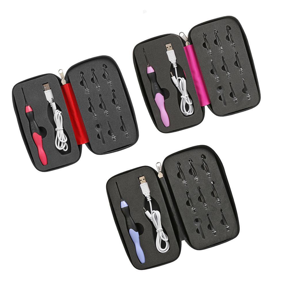 9 в 1 USB светильник крючком Крючки спицы светодиодный набор швейных инструментов инструмент для плетения набор швейных аксессуаров