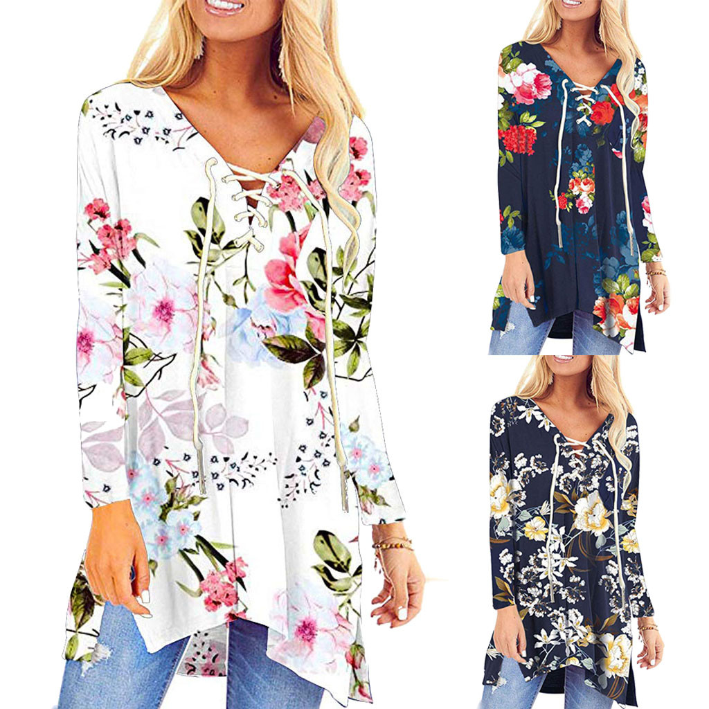 Blouses Tops Pocket Lace-Up Oversize Floral-V-Neck-Tunic Long-Sleeve Girls Flowy Winter title=