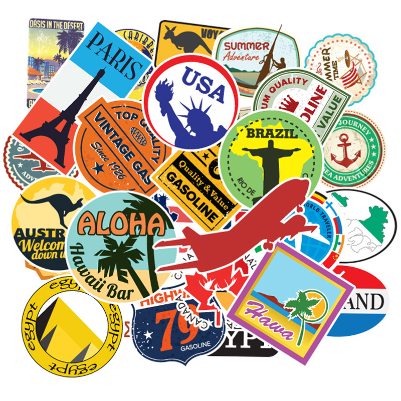 100 Pcs/set Travel Map Country Famous Logo PVC Waterproof Stickers Kids Toys Decor Suitcase Bicycle Car Guitar Skateboard F5