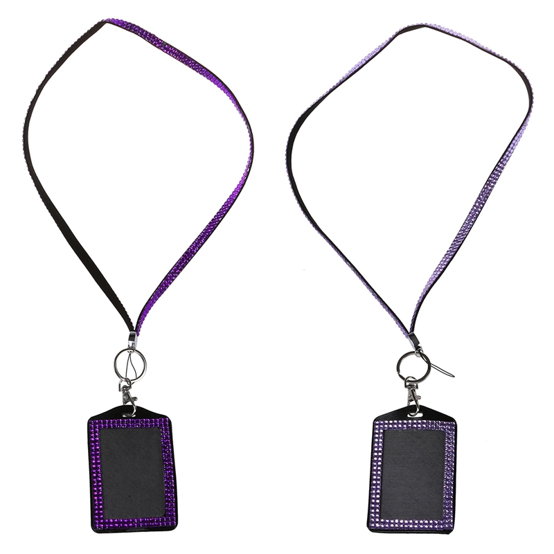 2 Pcs Rhinestone Bling Crystal Custom Lanyard Vertical ID Badge Holder (Dark Purple & Light Purple)