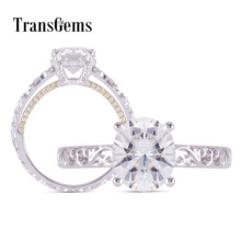 Transgems 14K White and Yellow Gold Center 2ct 7*8mm Oval F Color Moissanite Engagement Ring for Women With Accents Anniversary