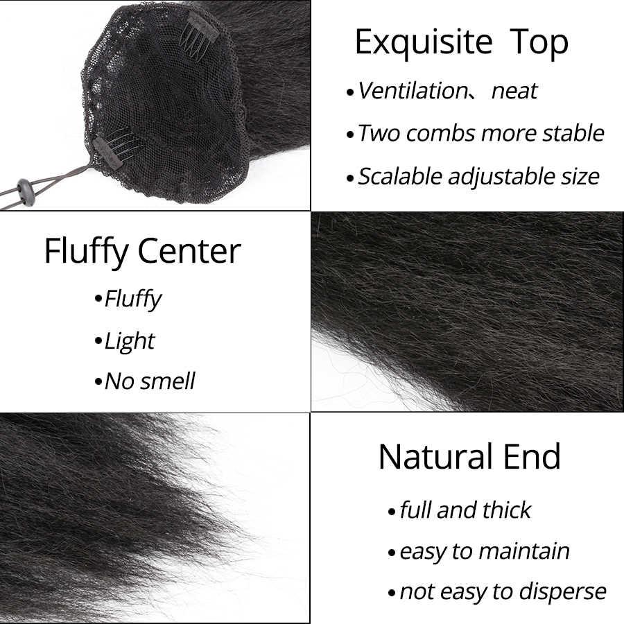 Leeons kinky reta rabo de cavalo para as mulheres sintético de alta qualidade cordão afro yaki extensões do cabelo 22 polegadas longo rabo de cavalo do cabelo