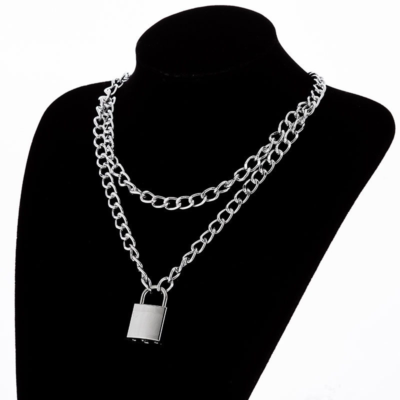 H47ef5e7c868847f09c05657170c14bf7I - KMVEXO Multilayer Lock Chain Necklace Punk Padlock Key Pendant Necklace Women Girl Fashion Gothic Party Jewelry