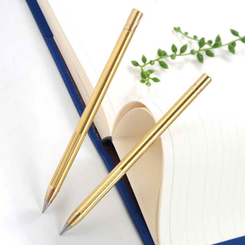 Retro Brass Inkless Pen Pure Brass Metal No-ink Pen Copper Gift Pen Stylus Everlasting Pencil Outdoor Travel