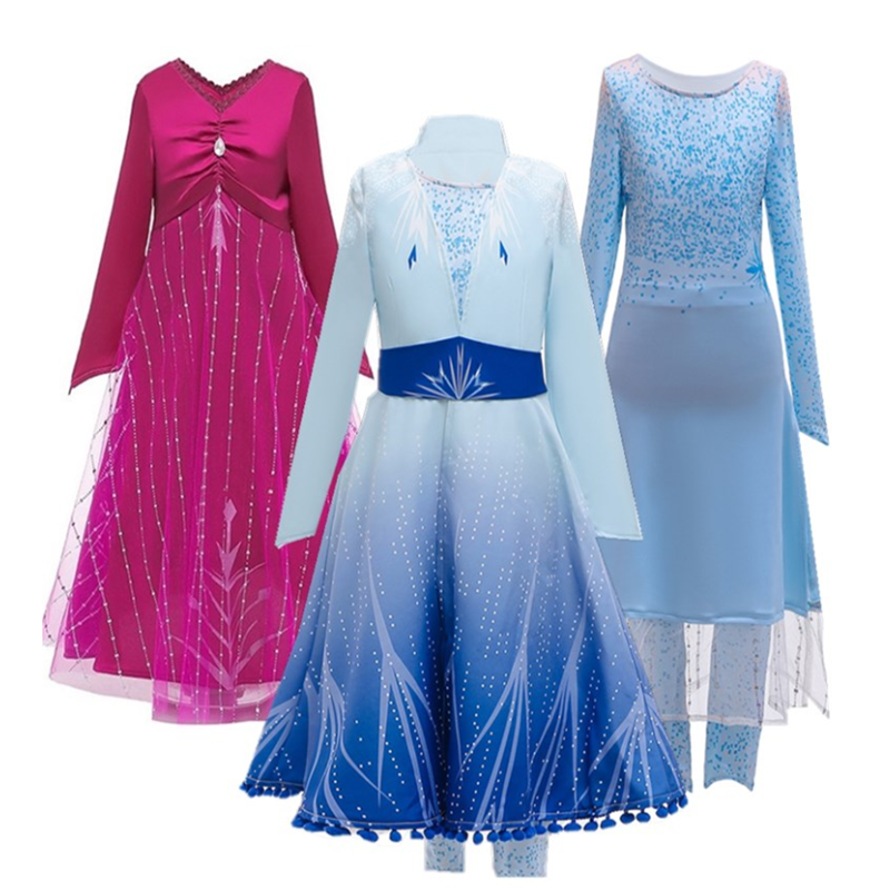 Baby Girl Anna Elsa Dress Child Princess Cinderella Fancy Kids Clothes For Carnival Party Costume Snow Queen Cosplay
