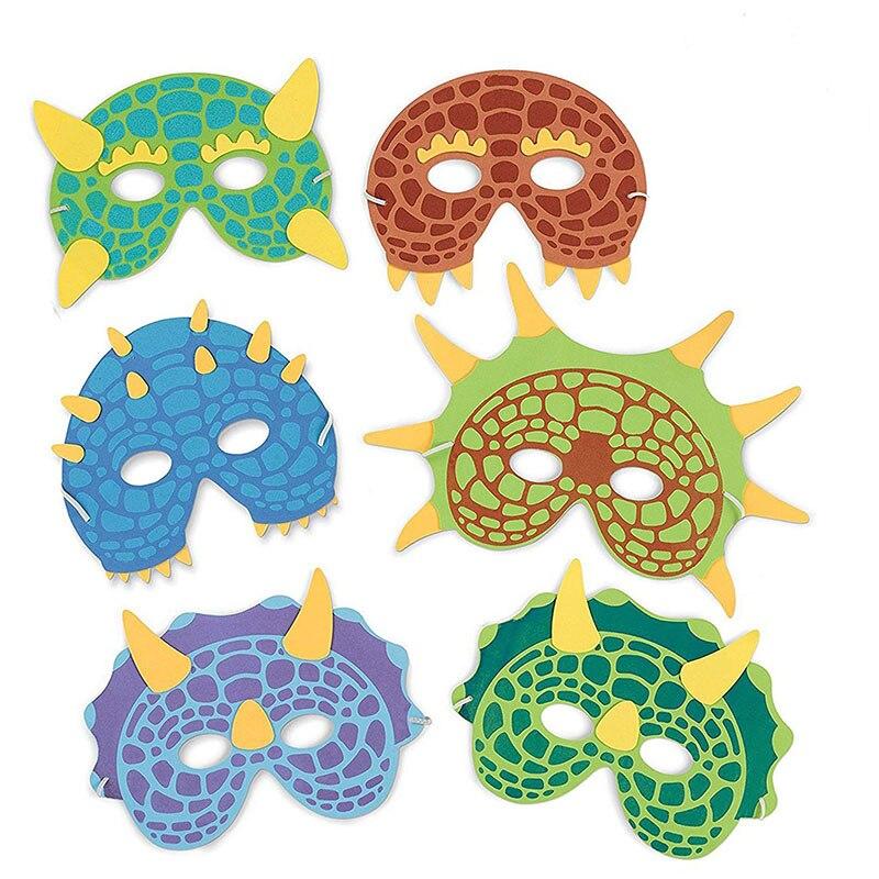 METABLE 12PCS Dinosaur Party Masks - Masquerade Face Mask Foam for Kids Theme Decorations Random