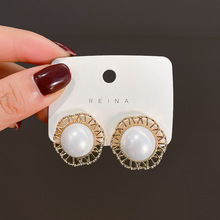 цена на Baroque Vintage Simulated Pearl Stud Earrings for Women Hollow Out Gold Color Metal Statement Earrings Wedding Party Jewelry