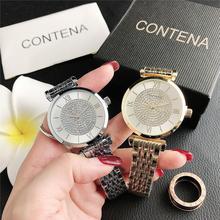Dress Watch Clock Rhinestone Quartz Dial Gold Silver Female Luxury Damski Zegarek