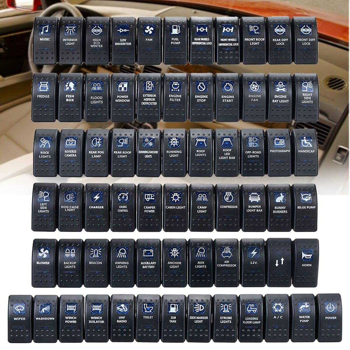 1pcs 12V 24V 자동차 보트 캐러밴 로커 스위치 방수 로커 스위치 듀얼 블루 LED 라이트 바 4x4 유니버설