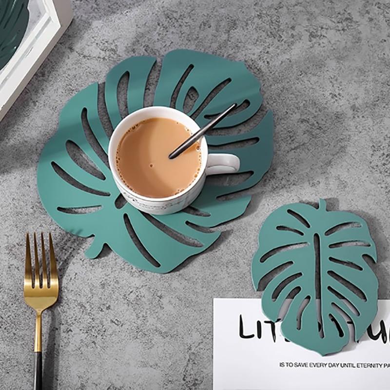 Best Sale 9672 Artificial Monstera Leaf Coaster Insulation