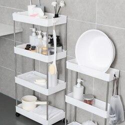 Kitchen Storage Rack 2/3/4 Layers Narrow Cabinet Living Room   Bathroom Shelf Home Furniture Movable Wheels Shelf