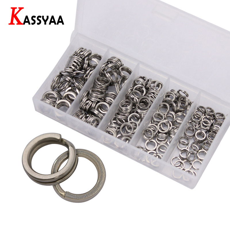 200pcs Stainless Steel Split Ring Set Assorted Fishing Tackle Quality Fishing Rongs For Blank Lures Crankbait Bait Accessories image