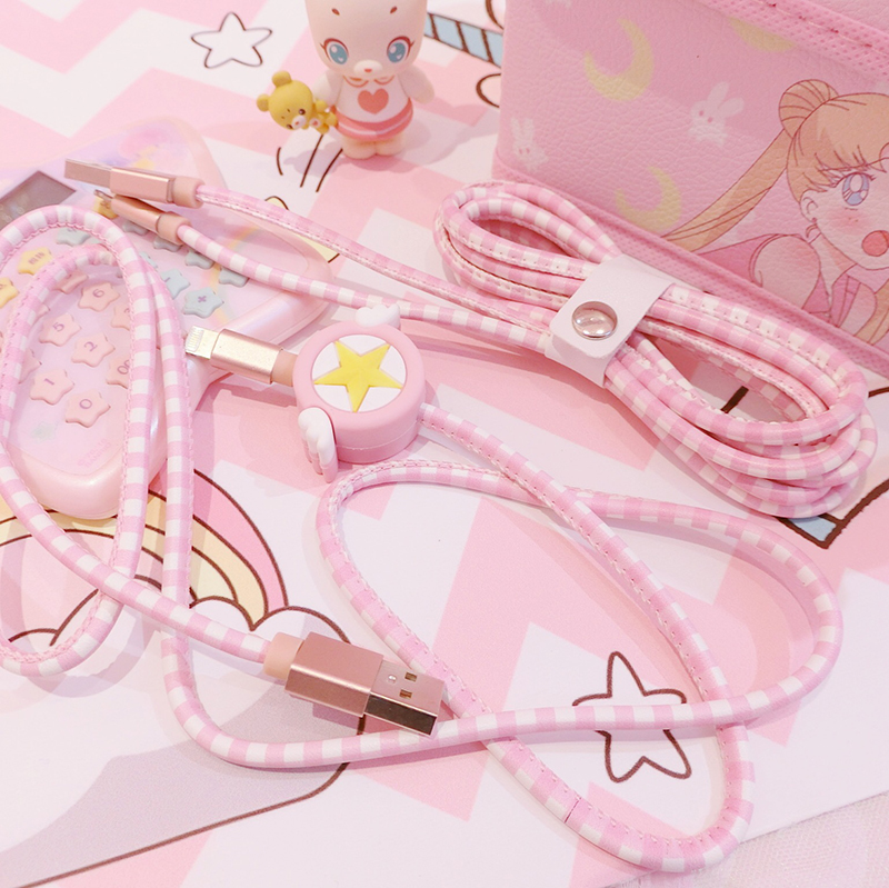 Anime Card Captor Sakura Star Action Figure Printed PU Cartoon USB Charging Cable Sailor Moon Mobile Phone Data Line For IPhone