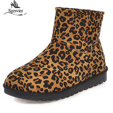 Sgesvier 2020 big size ankle boots for women top qulity flock flat leopard keep warm plush fur winter snow female