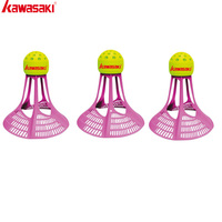 3Pcs/lot Kawasaki  Badminton Airshuttle Plastic Nylon Ball  for Training 3 Pcs Feather Shuttlecock Birdies Resistance To Wind