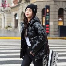 Shiny Jacket Padded Coat Parkas Winter Women Short Hooded Black Plus-Size Fashion Thick