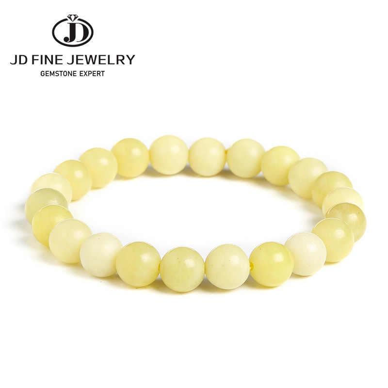 JD จัดส่งฟรี 4/6/8/10/12 มม.หินธรรมชาติมะนาว JASPER ลูกปัดสร้อยข้อมือสีเหลือง Handmade เครื่องประดับคุณภาพดี