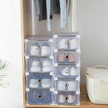 Складная простая полупрозрачная коробка для хранения обуви, толстые пластиковые ящики для хранения обуви, коробка для хранения пыли, комбинированный органайзер для хранения обуви