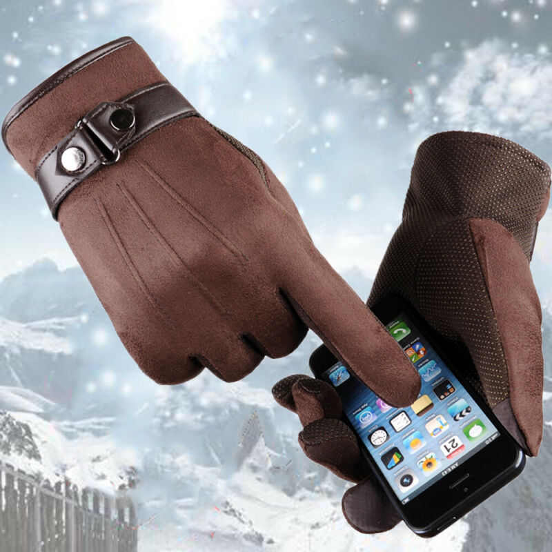 4 Colors Men Winter Anti-Slip Thermal Warm Suede Leather Touch Screen Outdoor Sports Driving Gloves