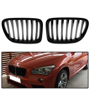 E84 Grille, Front Replacement Kidney Grill for BMW E84 X1 2010-2014 (Gloss Black)